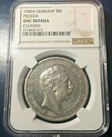 🔥 1900 🔥 PRUSSIA GERMANY 5 MARK SILVER  KM#523 NGC - UNC Details 🔥