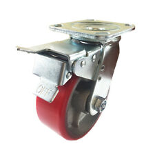 """5"""" x 2""""  Polyurethane on Cast Iron (Red) - Swivel with Total Lock Brake"""