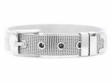 Genuine 925 sterling silver mesh adjustable belt buckle bracelet with black box