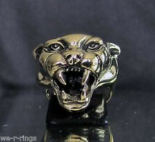 Jaguar Ring cat panther puma Polished BRONZE Death Skull biker Ring   BB07/B