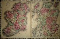 2pc Vintage 1863 SCOTLAND IRELAND ENGLAND WALES MAPS Antique Original Authentic