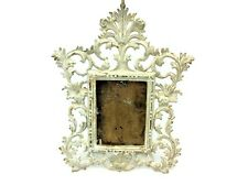 Painted White Shabby Chic Iron Metal Rectangular Free Standing Picture Frame