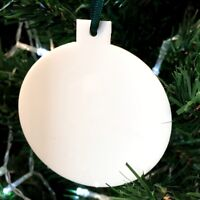 White Bauble Shaped Christmas Tree Decorations, With Satin Green Ribbon, Pack 10