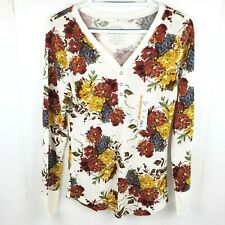 New listing Time and Tru Womens Themal Henley Tee Long Sleeve Waffle Weave Shirt M Floral