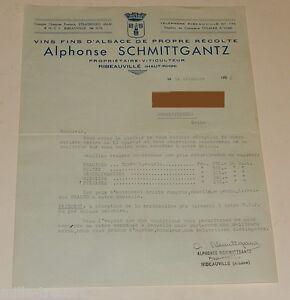 LETTRE Correspondance : VINS FINS D'ALSACE Alphonse SCHMITTGANTZ à RIBEAUVILLE