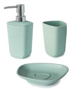 Neo Mint Green Soap Dispenser soap Dish and Tumbler Bathroom Set