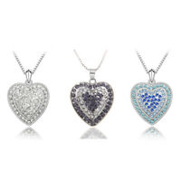 Women 3D Heart Pendant Necklace 18K White Gold Plated Crystal Gift Jewelry