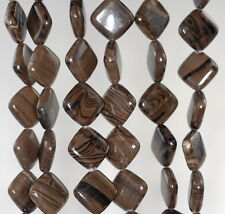 14X14MM ZEBRA JASPER GEMSTONE BROWN  DIAMOND SQUARE LOOSE BEADS 16""
