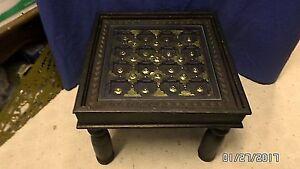 """1674M Vtg Antq Medieval/Gothic 15"""" End/Occasional Table Hand Carved Top w/Brass"""