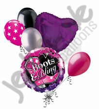 7pc Happy Birthday Boots & Bling Balloon Bouquet Party Decoration Cowgirl Purple