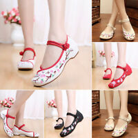 Chinese Embroidered Floral Shoes Women Ballerina Mary Jane Flat Ballet Canvas