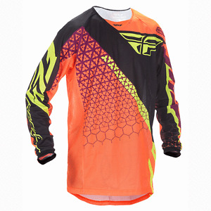 "Fly Racing Kinetic ""Trifecta"" Jersey - Youth & Adult FLO ORANGE & BLACK"