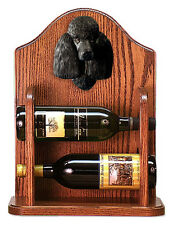 Poodle Dog Wood Wine Rack Bottle Holder Figure Blk - 2 Bottles - Dark