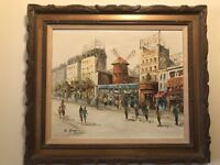 MOULIN ROUGE PARIS FRANCE IMPRESSIONIST STREET SCENE MID CENTURY OIL PAINTING