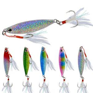 5pcs 10-30g Lead Metal Jigging Lure Spoon Bait Saltwater Jig Fishing Tackle New