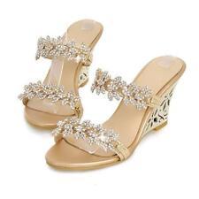 Womens Rhinestones Loafer Slipper Slingback Sandal High Heel Wedge Casual Shoes