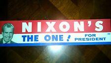 One 1968 Campaign Richard NIXON'S THE ONE! for President Bumper Sticker (4786)