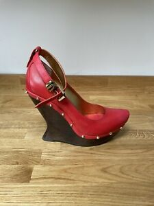 Alexander McQueen Ankle Strap Shoes - UK Size 6 EU 39 Leather Cherry Red Unused