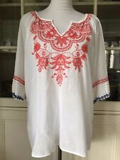 Johnny Was Cotton Embroidered Top Blouse, Size Medium