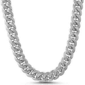 15mm Rhodium Iced Out Miami Cuban Link Chain Necklace Top Quality