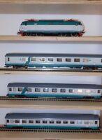 ROCO INTERCITY set 3 carrozze XMPR FS Trenitalia con locomotiva E444R