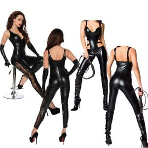 Sexy Women Sexy Lingerie Catsuit Faux Leather Bodysuit Jumpsuit Clubwear Cosplay