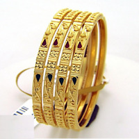 Handmade Dubai Slip-On Bangles Bracelet In Solid Certified 22Karat Yellow Gold
