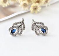 Elegant 925 Sterling Silver Crystal Leaf Blue Sapphire Stud Earrings Vintage