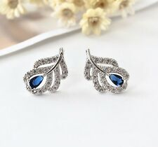 Elegant 925 Sterling Silver Crystal Leaf Blue Sapphire Stud Earrings Vintage
