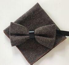 Coffret Noeud papillon et Pochette assortie marron laine et finition cuir