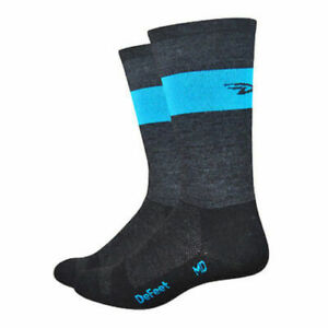"""DeFeet Wooleator 7"""" Team DeFeet Charcoal/Blue Cycling Athletic Socks Size Small"""