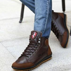 Winter Men's Casual High Top Sneaker Lace-up Ankle Boots PU  Leather Work Shoes