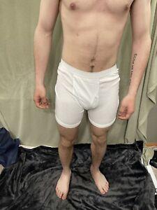 Men's Large White Gildan Boxer Briefs 100% Cotton