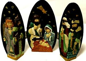 """Christmas Nativity Scene Hinged Egg Resin Hand Painted Tabletop Decoration 4"""""""