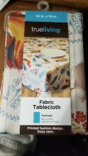 "True Living Fabric Tablecloth Rectangle 52"" x 70""  Early Rise Rooster Design"