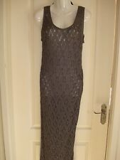 BNWT FULL LENGTH GREY CROCHET PARTY / EVENING / COCKTAIL DRESS WITH BEAD DETAIL