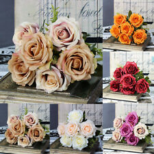 6 Heads Real Touch Artificial Rose Flowers Bridal Wedding Bouquet Home Decor