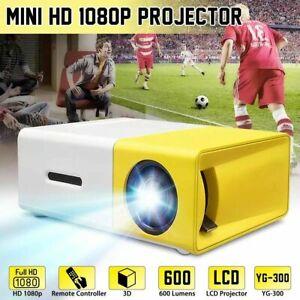 1080P Full HD Mini Home Projector LED Video Theatre Cinema USB HDMI AV SD YG300