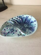 Vintage Atomic Starburst Splatter Paint Blue ASHTRAY Atomic Era Pottery MCM