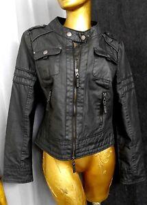 BLANK NOIR Moto Jacket Saturated 100% Cotton Biker Coat Sz M