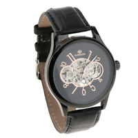 Mens Stainless Steel Skeleton Mechanical Automatic Wrist Watch w/ Black Dial