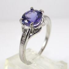 Sterling Silver Purple Tanzanite Diamond Accent Ring Size 8 LHA4