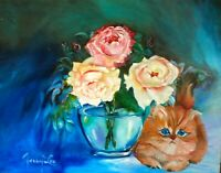 """Hawaii Artist Botanical """"HERE KITTY"""" ONE OF A KIND  Original OilPainting"""