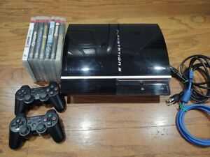 Sony Playstation PS3 40GB CECHH01 +2 Controllers, HDMI, 7 Games Bundle *USED*