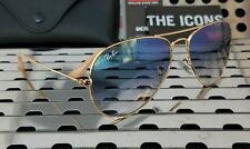 07668840509 Ray-Ban 3025 Sunglasses With Gold Frame And Blue Lens