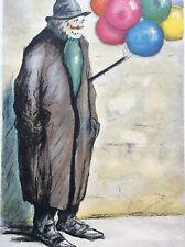 Vendeur de ballons lithographie papier dessin épais G. Tournon XX e