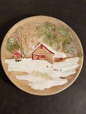 Vintage Byron Mold 3-D Wall Plate Farm Barn & House In Snow