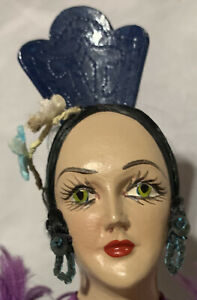 Poveda Spanish Mexican Dancer Vintage Composition Lady Doll Tuck Comb Red Ribbon