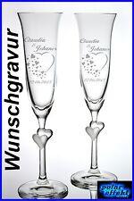 2 Sektgläser mit Gravur Personalisiert Geschenke zur Hochzeit für Brautpaare