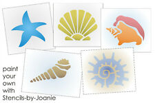 """Seashell Stencil Beach Sand Starfish Conch Snail Cone You Paint 4"""" size shapes"""